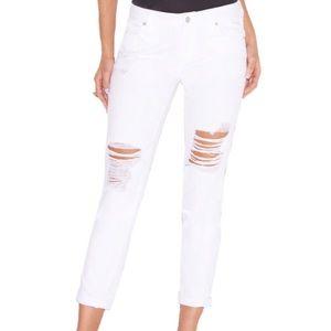 White Distressed Boyfriend Jeans sz 25